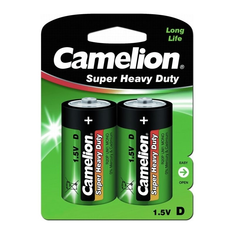 Батарейки Camelion Super HEAVY DUTY Green R20 373 2S, 1,5V